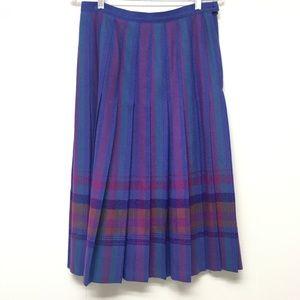 Pendleton Plaid Knife Pleat Skirt 100% Wool Purple